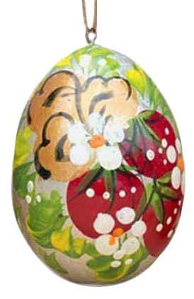 Floral Wooden Egg Ornament: Strawberries