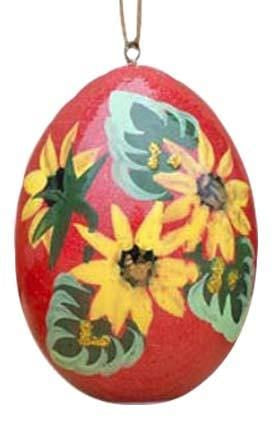 Floral Wooden Egg Ornament: Red Sunflowers
