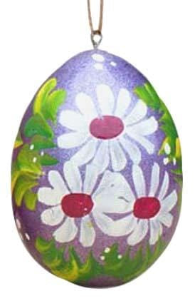 Floral Wooden Egg Ornament: Violet Daisies