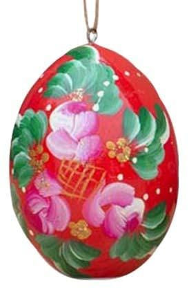 Floral Wooden Egg Ornament: Red Freesia