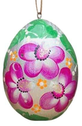 Floral Wooden Egg Ornament: Violet Sparkle