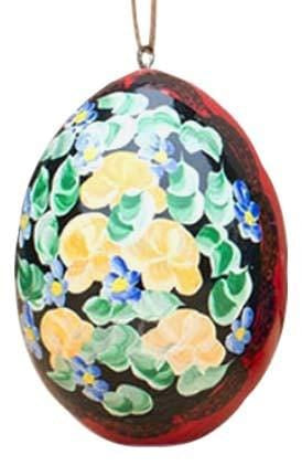 Floral Wooden Egg Ornament: Red & Black Violet Field