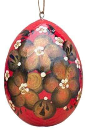 Floral Wooden Egg Ornament: Red Gold Flowers