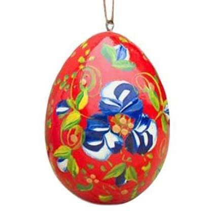 Floral Wooden Egg Ornament: Red Blue Flowers
