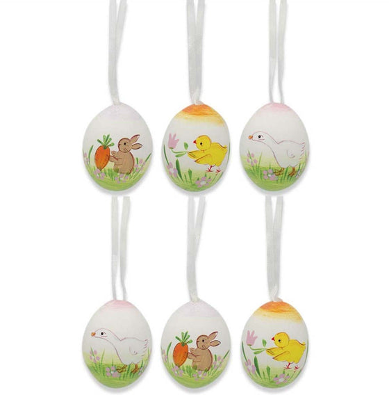 Set of 6 Eggshell Easter Ornaments: Farm Animals