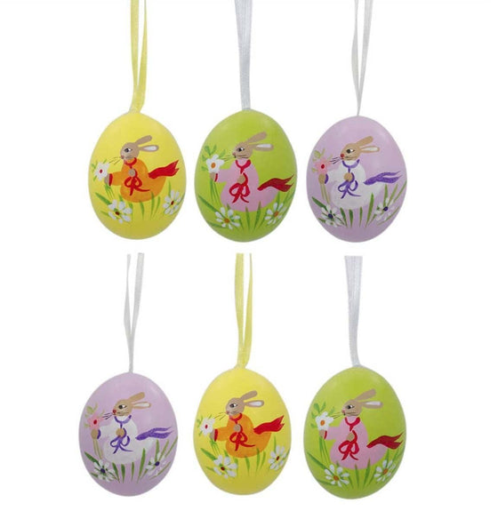 Set of 6 Eggshell Easter Ornaments: Bunny Dance