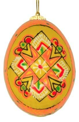 Ukrainian Wooden Egg Ornament: Marigold
