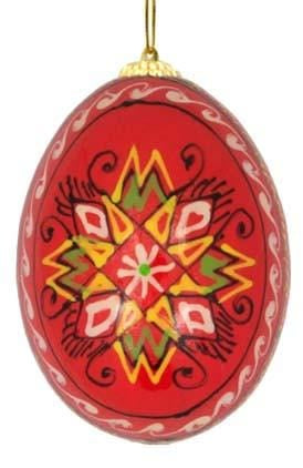 Ukrainian Wooden Egg Ornament: Hibiscus Red