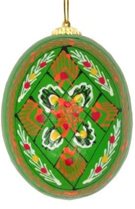 Ukrainian Wooden Egg Ornament: Green Diamond