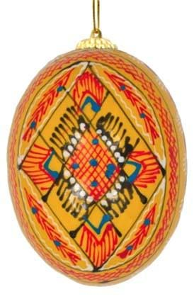 Ukrainian Wooden Egg Ornament: Dandelion