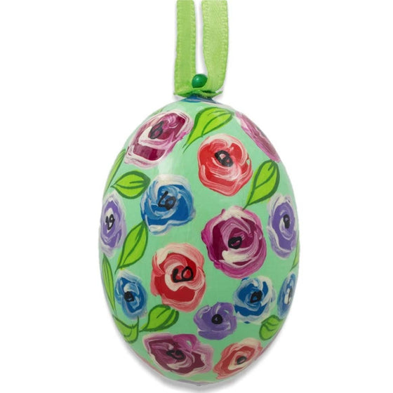 Floral Egg Wooden Ornament: Rosettes
