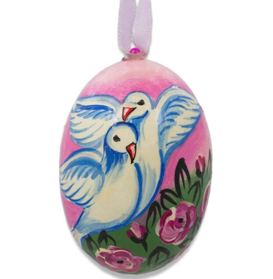 Floral Egg Wooden Ornament: White Doves