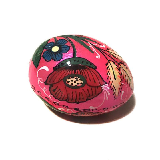 Floral Wooden Easter Egg: Bright Pink