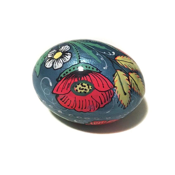 Floral Wooden Easter Egg: Blue