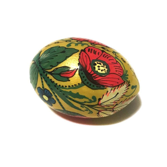 Floral Wooden Easter Egg: Yellow