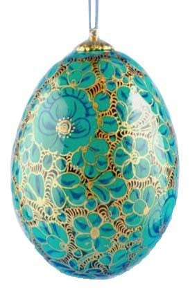 Floral Wooden Egg Ornament: Forget-me-not
