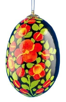 Floral Wooden Egg Ornament: Black & Red Vines