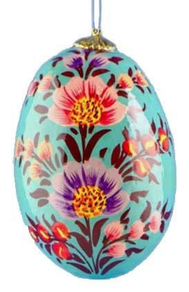 Floral Wooden Egg Ornament: Summer Blossoms