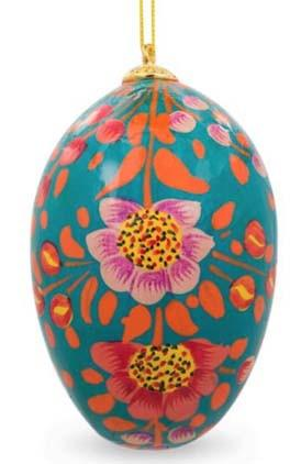 Floral Wooden Egg Ornament: Sun Burst