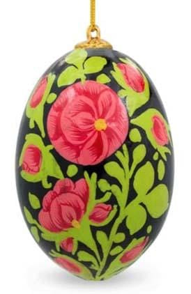 Floral Wooden Egg Ornament: Ancient Blossoms