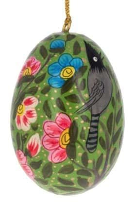Floral Wooden Egg Ornament: Birds Green