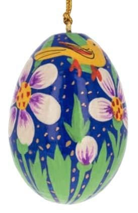 Floral Wooden Egg Ornament: Birds Blue