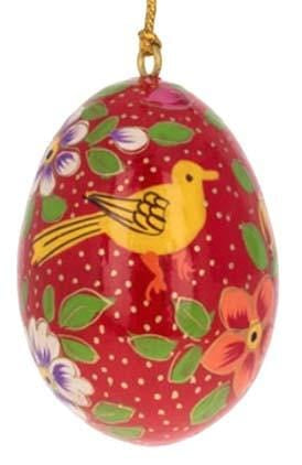 Floral Wooden Egg Ornament: Birds Red