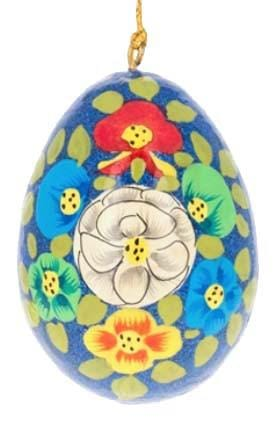 Floral Wooden Egg Ornament: Blue Sparkle
