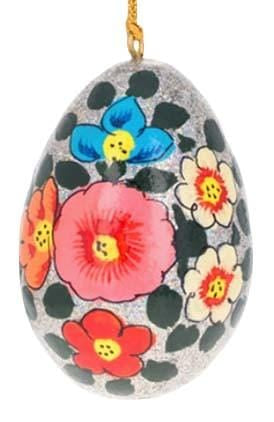 Floral Wooden Egg Ornament: Silver Sparkle