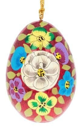 Floral Wooden Egg Ornament: Red Sparkle