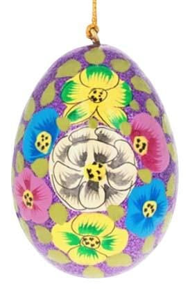 Floral Wooden Egg Ornament: Green Sparkle