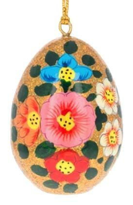 Floral Wooden Egg Ornament: Gold Sparkle