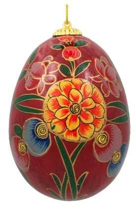 Floral Wooden Egg Ornament: Oriental Red