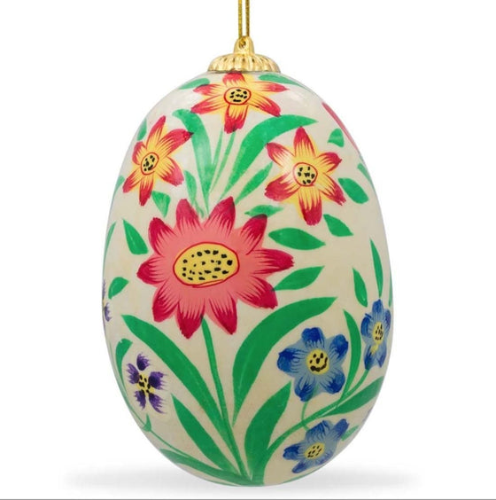 Floral Wooden Egg Ornament: Oriental Cream