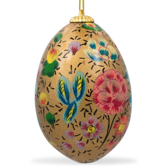 Floral Wooden Egg Ornament: Oriental Gold