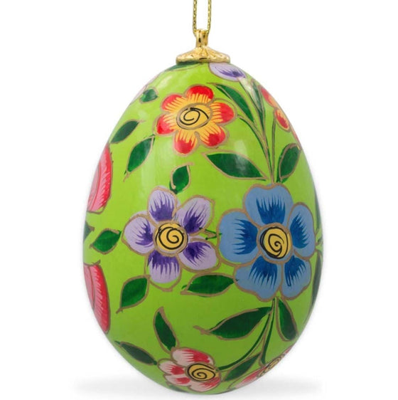 Floral Wooden Egg Ornament: Oriental Green