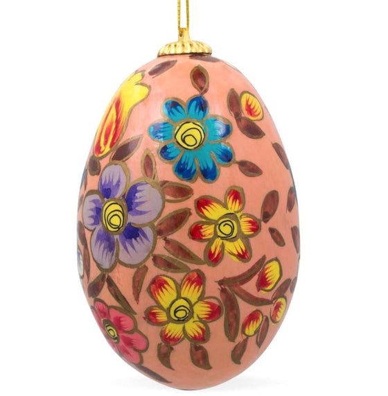 Floral Wooden Egg Ornament: Oriental Pink
