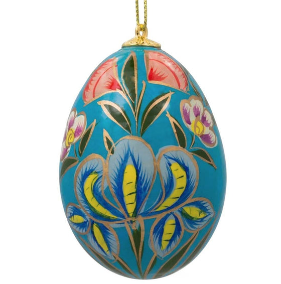 Floral Wooden Egg Ornament: Blue Iris