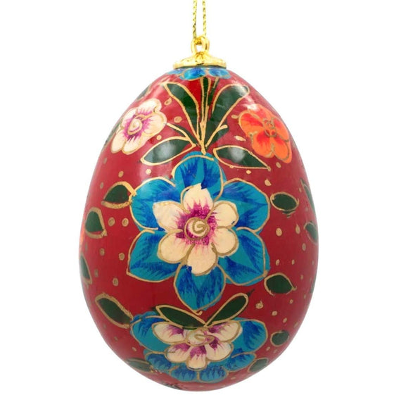 Floral Wooden Egg Ornament: Oriental Burgundy