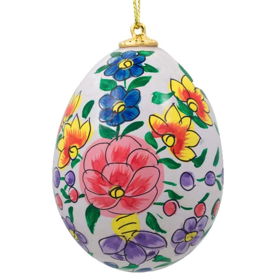 Floral Wooden Egg Ornament: Lavender