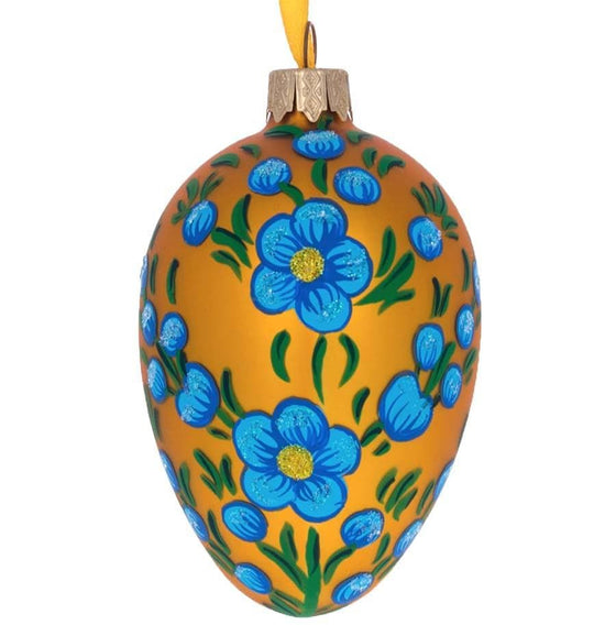 Fabergé Inspired Glass Egg: Cornflowers