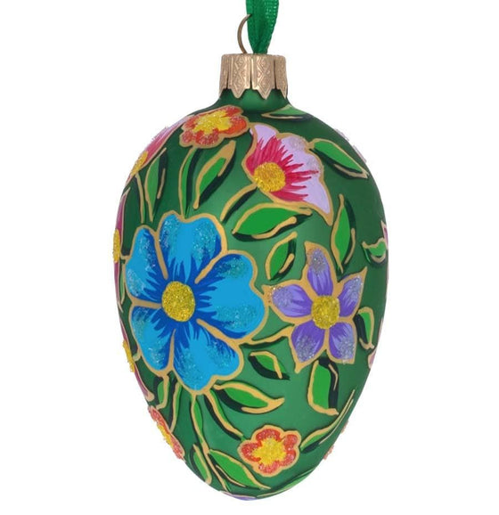 Fabergé Inspired Glass Egg: Spring Blossoms