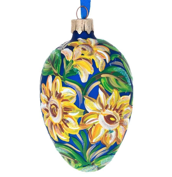 Fabergé Inspired Glass Egg: Sunflowers