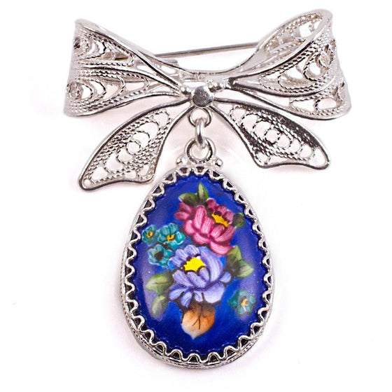 """Finift"" Enamel Egg Brooch with Bow Pin: Blue"