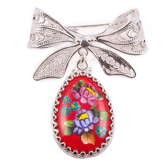 """Finift"" Enamel Egg Brooch with Bow Pin: Red"