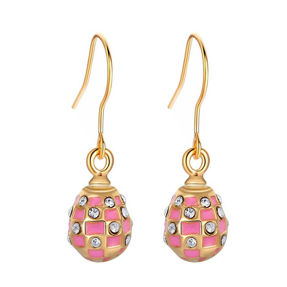 Pink Checkers Egg Earrings