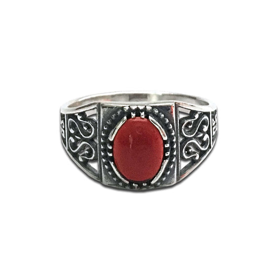 """Most Holy Theotokos Save Us"" Ring: Red Agate"