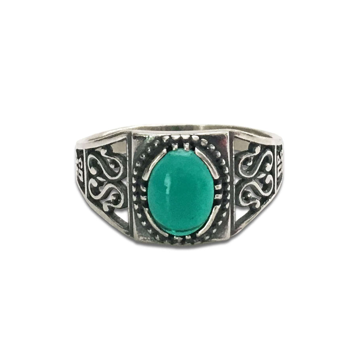 """Most Holy Theotokos Save Us"" Ring: Green Agate"
