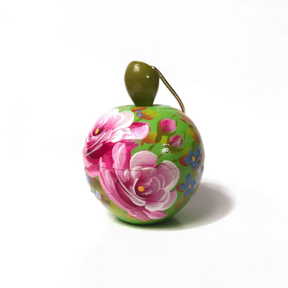 Lacquer Box Ornament: Green Apple
