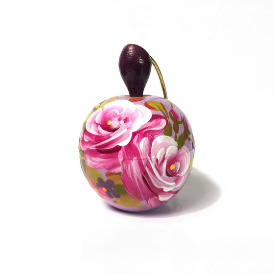 Lacquer Box Ornament: Lavender Apple